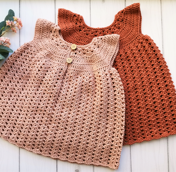 hæklet kjole til baby detalje